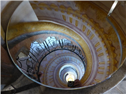 Optical illusion-the Rococo spiral staircase, as seen in a mirror! Melk Abbey, an hour's drive from Vienna.