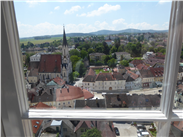 View from a window-the village of Melk, as seen from the abbey.