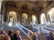 The Grand Staircase, Kunsthistorisches. Klimt paintings in the spandrels.