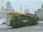 Helsinki tram in winter